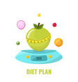 diet plan concept apple on kitchen scales with vector image