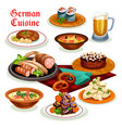 German cuisine dinner with beer and sausage icon vector image