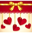 Valentines day greeting card with hearts and bow vector image vector image