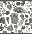 monochrome seamless pattern with owl under the vector image vector image