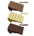 colorful melted chocolate blocks set vector image
