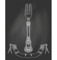an ornamented fork on chalkboard vector image