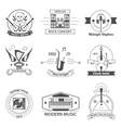 Black And White Music Styles Labels vector image