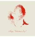 Bird flying heart shape vector image