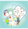 Background with owl flowers and birds vector image