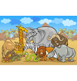 african safari wild animals cartoon vector image