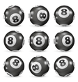 Set of billiard balls eights from different angles vector image