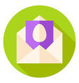 Open Envelope with Easter Egg Postcard Circle Icon vector image