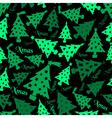 set of christmas green tree decoration dark vector image