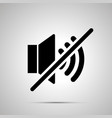 speaker mute simple black icon vector image