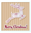 Merry Christmas card on cardboard with deer vector image vector image