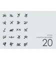Set of aviation desasters icons vector image