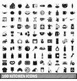 100 kitchen icons set in simple style vector image