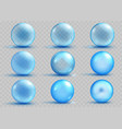 set of transparent and opaque light blue spheres vector image