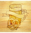 Beer and pretzel background vector image