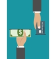 ATM payment by credit card or cash vector image vector image
