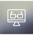 Glasses in computer monitor thin line icon vector image
