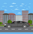 modern business sedan in urban landscape vector image