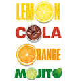 orange mojito cola text with many water drops vector image