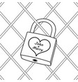 padlock with heart coloring book vector image