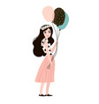 stylish woman in fashion clothes with balloons vector image