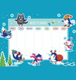weekly planner with winter penguins cartoon design vector image