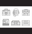 Retro tape recorder linear icon vector image