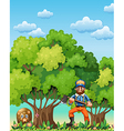 A forest with a bear and a lumberjack vector image vector image