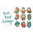 Owl tribal set vector image