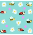 background with ladybirds bees and camomiles vector image