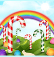 candy garden background with rainbow vector image