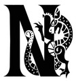 capital letter n with gargoyle vector image