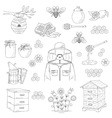 honey collection with beekeeping elements vector image