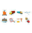 logistics and delivery icons in set collection for vector image
