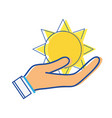 natural sun and normal weather icon in the hand vector image