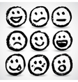 An icon set of grunge cartoon smiley faces vector image vector image