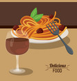 delicious food spaghetti meatballs and glass cup vector image