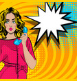 pop art cartoon woman talk hold hand retro phone vector image
