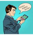 Man Holding Tablet Businessman at Work Pop Art vector image vector image