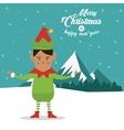 Elf cartoon icon Merry Christmas design vector image