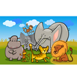 african safari wild animals cartoon vector image