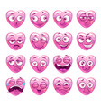 funny pink heart emoji icons set vector image