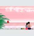 man and woman in love with summer beach in the vector image