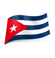 national flag of cuba blue and white stripes red vector image