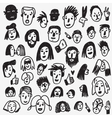 people faces doodles vector image