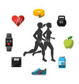 silhouette man and woman sport vector image