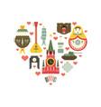 russian symbols in heart vector image