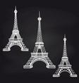 eiffel towers set on chalkboard vector image