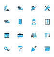 Construction colorful icons set collection of vector image