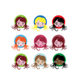 little girl icons vector image vector image